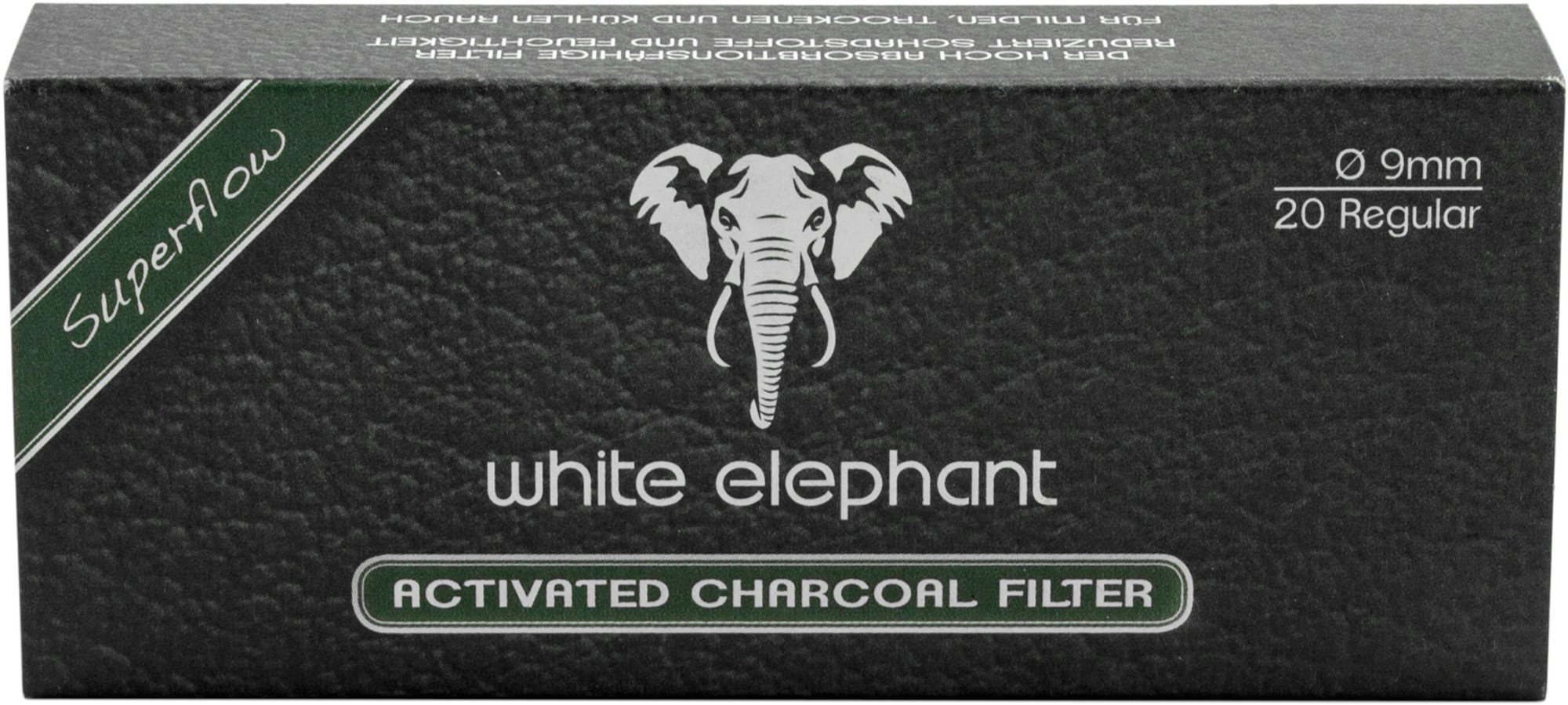 White Elephant Pfeifenfilter 20mm AKTIVKOHLE Filter 20 Stück 20