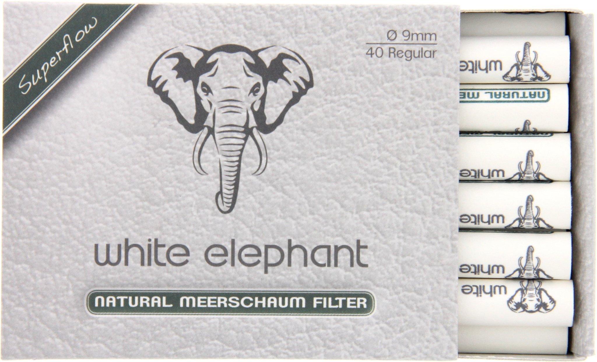 White Elephant Pfeifenfilter 20mm Naturmeerschaum Filter 20 Stück 20